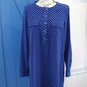 Blue with black polka dot dress